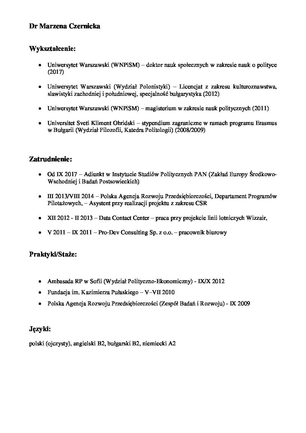 Curriculum Vitae Instytut Studiów Politycznych Pan